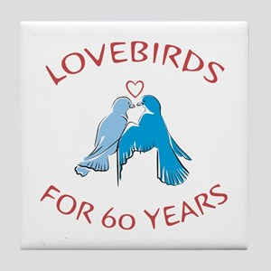 60th Anniversary Lovebirds Tile Coaster